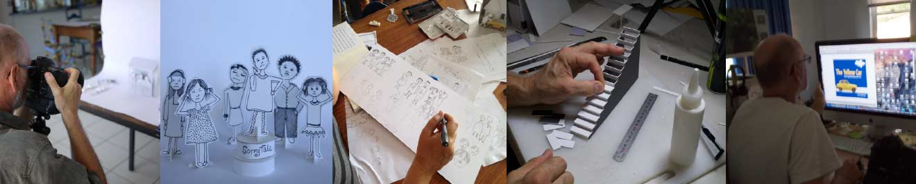 multiple images of the illustration process for the Yellow Car book