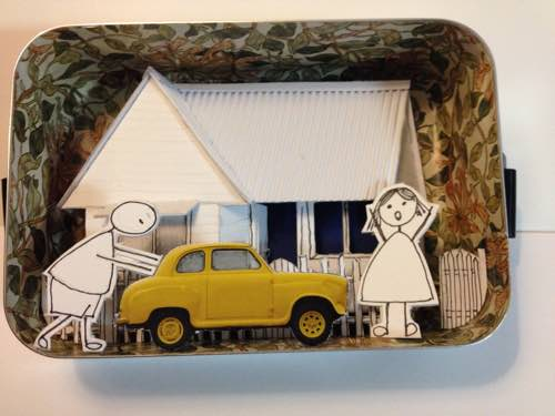 the yellow car early HOUSE IN TIN ILLUSTRATION web